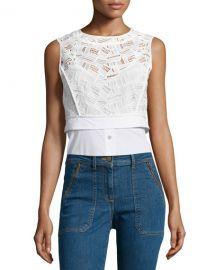 Veronica Beard Lace Shirting Combo Top at Neiman Marcus