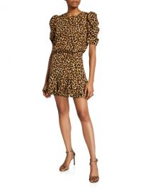 Veronica Beard Lila Puff-Sleeve Leopard-Print Flounce Dress at Neiman Marcus