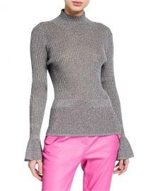 Veronica Beard Lilia Metallic Turtleneck Pullover Sweater at Neiman Marcus