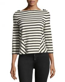 Veronica Beard Lincoln Striped 3 4-Sleeve Cotton Top at Neiman Marcus