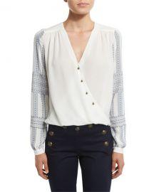 Veronica Beard Long-Sleeve Silk Boho Surplice Blouse  at Neiman Marcus