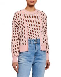 Veronica Beard Loraine Printed V-Neck Cardigan at Neiman Marcus