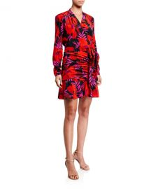 Veronica Beard Lorina Floral-Print Tie-Front Dress at Neiman Marcus