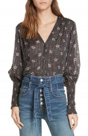 Veronica Beard Maree Smock Cuff Silk Blouse at Nordstrom