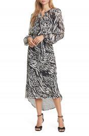 Veronica Beard Mavis Stripe  amp  Spot Print Long Sleeve Silk Dress   Nordstrom at Nordstrom