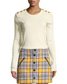 Veronica Beard Mayer Button-Shoulder Long-Sleeve Top at Neiman Marcus