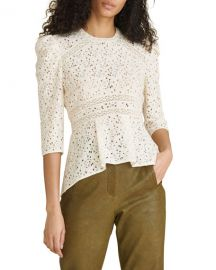 Veronica Beard Mayme 3 4-Sleeve Lace Top at Neiman Marcus