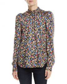 Veronica Beard Mena Gathered Floral Puff-Sleeve Top at Neiman Marcus