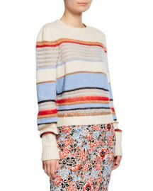 Veronica Beard Meredith Striped Wool-Blend Pullover Sweater at Neiman Marcus