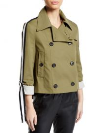 Veronica Beard Mert Cropped Jacket with Belted Sleeves at Neiman Marcus