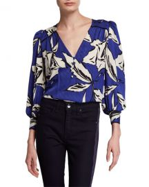 Veronica Beard Milan Printed Silk Button-Front Top at Neiman Marcus