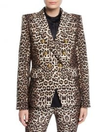 Veronica Beard Miller Double-Breasted Leopard-Print Jacket at Neiman Marcus