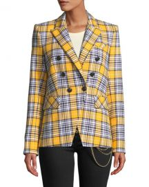 Veronica Beard Miller Plaid Double-Breasted Dickey Jacket at Neiman Marcus