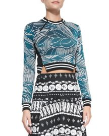 Veronica Beard Mixed Print Zipper Crop Top at Last Call