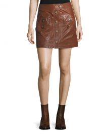 Veronica Beard Monroe A-Line Cargo Leather Skirt at Neiman Marcus