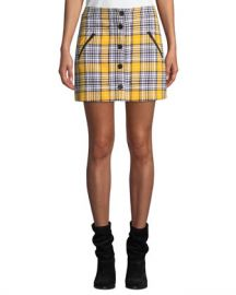 Veronica Beard Monroe Plaid Button-Front Mini Skirt at Neiman Marcus