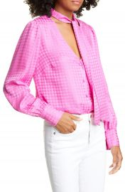 Veronica Beard Nicky Tie Neck Houndstooth Jacquard Silk Top   Nordstrom at Nordstrom