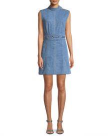 Veronica Beard Nico Mock-Neck Grommet-Waist Chambray Dress at Neiman Marcus
