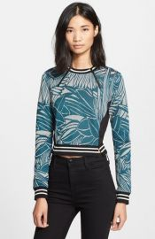 Veronica Beard Palm Jacquard Jersey Sweater at Nordstrom