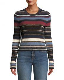 Veronica Beard Palmas Striped Metallic Cropped Sweater at Neiman Marcus