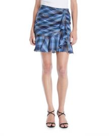 Veronica Beard Parris Plaid Ruffle Tulip Skirt at Neiman Marcus