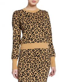 Veronica Beard Penny Leopard-Print Pullover Sweater at Neiman Marcus