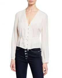 Veronica Beard Phoebe Long-Sleeve Lace Pintuck Blouse at Neiman Marcus