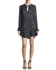 Veronica Beard Preston Long-Sleeve Floral-Print Silk Dress at Neiman Marcus