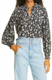Veronica Beard Reba Floral Print Stretch Silk Blouse   Nordstrom at Nordstrom