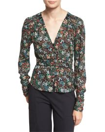 Veronica Beard Ripley Ruched Floral Silk Boho Blouse  Black Multicolor at Neiman Marcus
