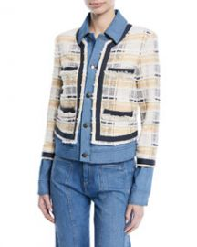 Veronica Beard Santiago Button-Front Combo Tweed   Denim Jacket at Bergdorf Goodman