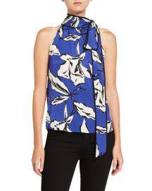 Veronica Beard Sela Printed Tie-Neck Top at Neiman Marcus