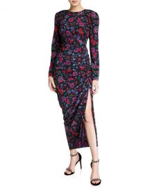 Veronica Beard Selena Long-Sleeve Floral Ruched Dress at Neiman Marcus