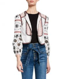 Veronica Beard Shilin Cropped Linen Jacket w  Floral Embroidery at Neiman Marcus
