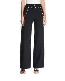 Veronica Beard Shore Sailor Wide-Leg Pants  Black at Neiman Marcus