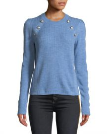 Veronica Beard Simi Wool Button-Shoulder Raglan Sweater at Neiman Marcus