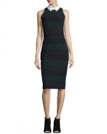 Veronica Beard Sleeveless Cedar Pencil Dress Green Stripe at Neiman Marcus