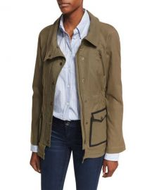 Veronica Beard Snap-Front Spread-Collar Canvas Army Jacket at Neiman Marcus
