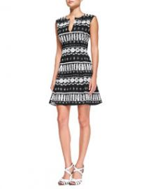 Veronica Beard Split V-Neck Flounce Dress at Neiman Marcus