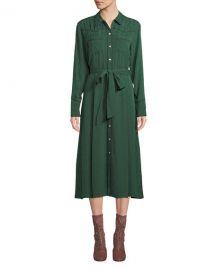 Veronica Beard Spur Silk Jacquard Long-Sleeve Shirtdress at Neiman Marcus
