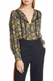 Veronica Beard Tarry Crochet Trim Silk Blouse   Nordstrom at Nordstrom