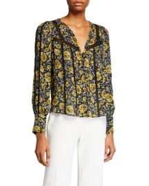 Veronica Beard Tarry Printed Lace-Inset Blouse at Neiman Marcus