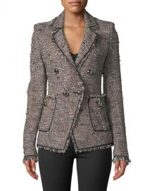 Veronica Beard Theron Double-Breasted Tweed Jacket w  Frayed Trim at Neiman Marcus