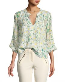 Veronica Beard Walker Pintucked Silk Blouse at Neiman Marcus