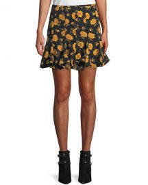 Veronica Beard Weller Floral-Print Flounce Mini Skirt at Neiman Marcus