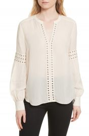 Veronica Beard Willa Eyelet Trim Blouse at Nordstrom