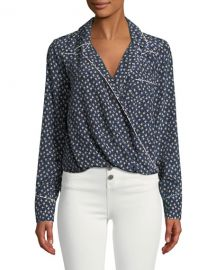 Veronica Beard Worth Floral-Print Long-Sleeve Silk Top at Neiman Marcus