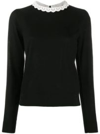 Veronica Beard lace-trim Merino Knit Jumper - Farfetch at Farfetch