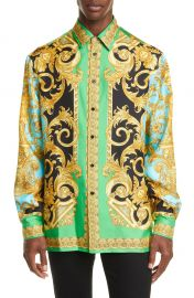 Versace Baroque Print Button-Up Silk Shirt   Nordstrom at Nordstrom