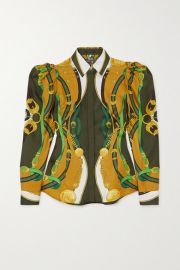 Versace - Printed satin shirt at Net A Porter